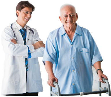 Photo of a doctor and man with a walker